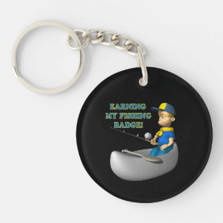 Earning My Fishing Badge Double-Sided Round Acrylic Keychain