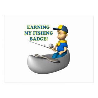 Earning My Fishing Badge Postcard