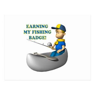 Earning My Fishing Badge Postcard
