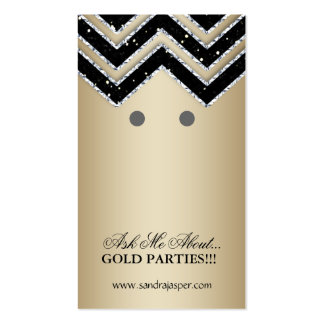 Earring Display Cards Chevron Jewelry Gold Black Business Card