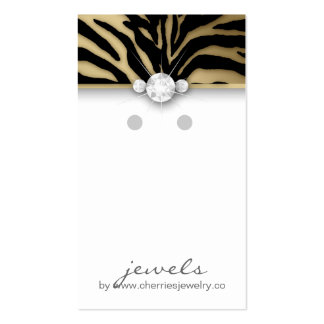 Earring Display Cards Cute Zebra Black Jewelry Gol