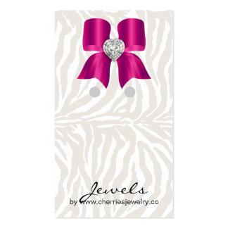Earring Display Cards Cute Zebra Bow Jewelry Pink