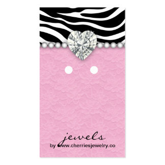 Earring Display Cards Cute Zebra Lace Jewelry
