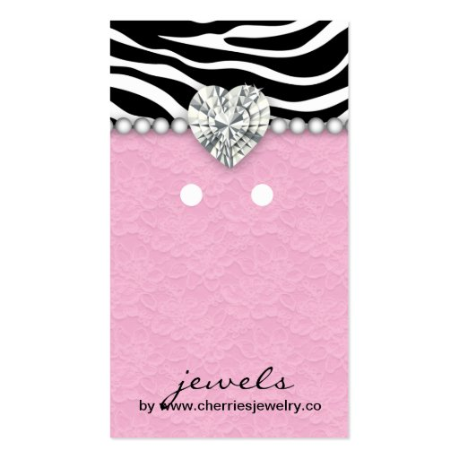 Earring Display Cards Cute Zebra Lace Jewelry Business