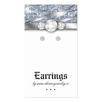 Earring Display Cards Cute Zebra Sparkle Jewelry