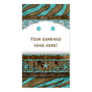 Earring Display Cards Cute Zebra Star Western