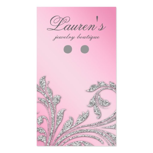 Pink glitter business card templates page6 bizcardstudio earring display cards jewelry glitter leaves pink business card template flashek Gallery