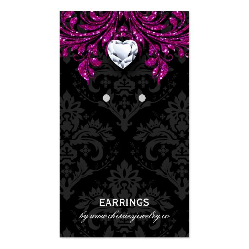 Earring Display Cards Vintage Damask Jewelry Black Business Cards