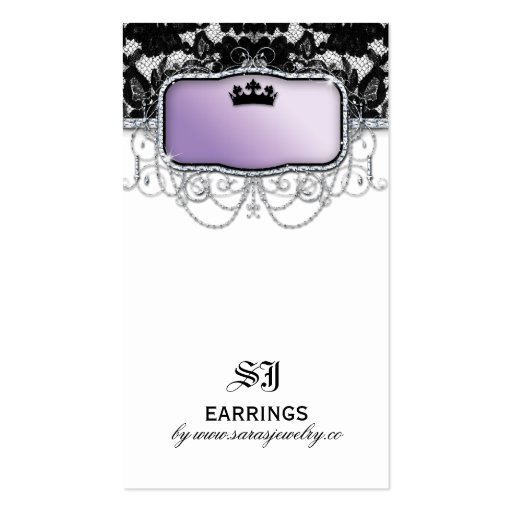 Earring display cards vintage lace crown jewelry business for Business card display template