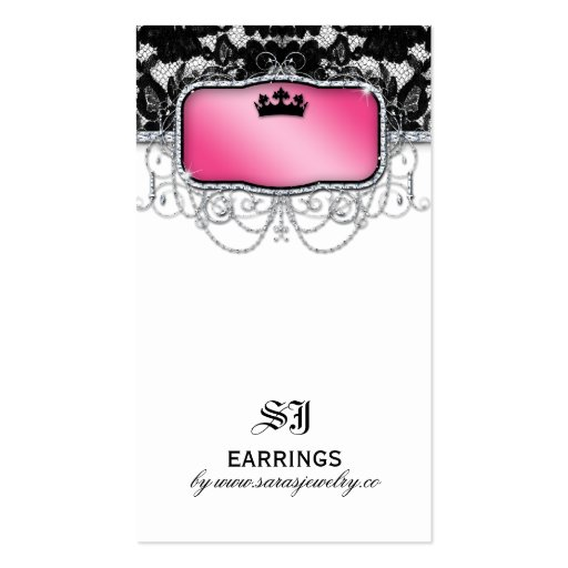 Earring Display Cards Vintage Lace Crown Jewelry Business Card Templates
