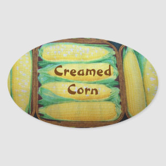 Ears of Corn Creamed Corn Canning Label Oval Stickers