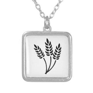 Ears of Wheat Square Pendant Necklace