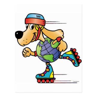 Eart Dog Skating Postcard