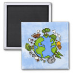 earth 2 inch square magnet