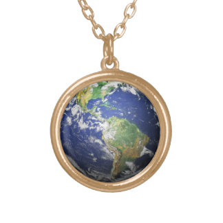 Earth - 3D Effect Gold Plated Necklace