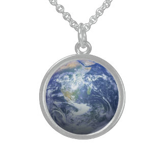 Earth - 3D Effect Round Pendant Necklace