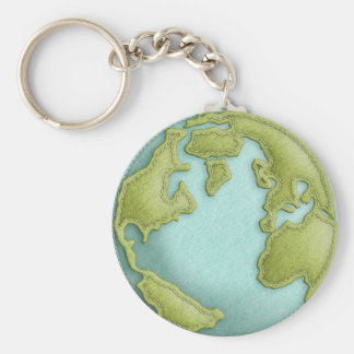 Earth 3D Stitched Pattern Keychain