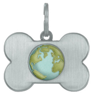 Earth 3D Stitched Pattern Pet Tag