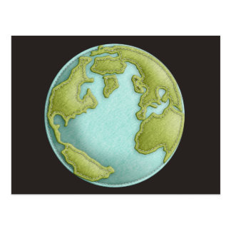 Earth 3D Stitched Pattern Postcard