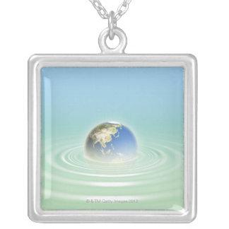 Earth 9 square pendant necklace