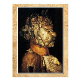 Earth - a head composed of various creatures postcard