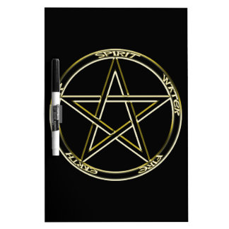Earth, Air and Fire Pentagram Dry Erase Board