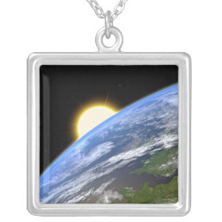 Earth and a Bright Star Silver Plated Necklace
