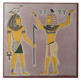 Earth and Air Geb and Shu Egyption Ceramic Tile
