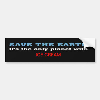 Earth and Ice Cream Bumper Sticker Car Bumper Sticker