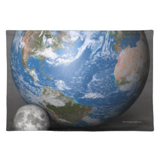 Earth and Moon 2 Cloth Placemat