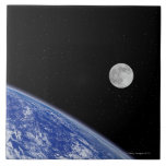 Earth and Moon 2 Large Square Tile
