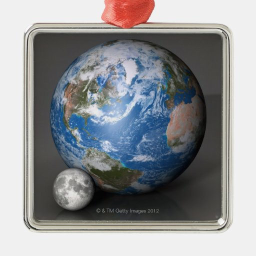 Earth and Moon 2 Square Metal Christmas Ornament