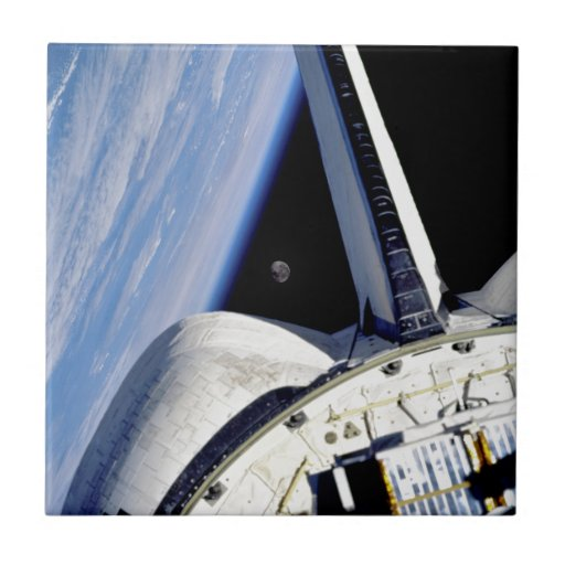 Earth and Moon Behind Discovery Ceramic Tiles