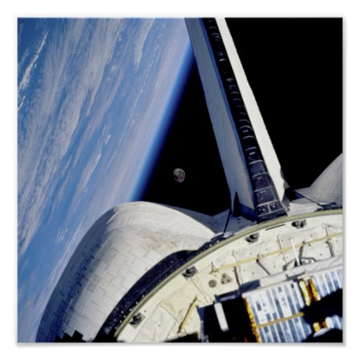 Earth and Moon Behind Discovery Poster