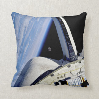 Earth and Moon Behind Discovery Throw Pillow