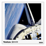 Earth and Moon Behind Discovery Wall Decal