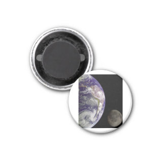 Earth and Moon by Galileo 1 Inch Round Magnet