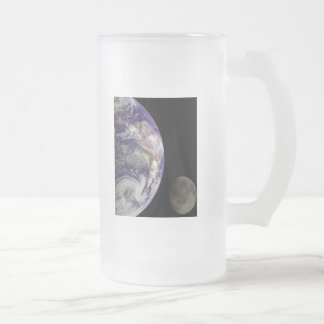 Earth and Moon by Galileo Frosted Glass Beer Mug
