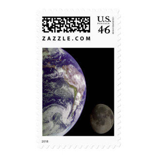 Earth and Moon by Galileo Stamp