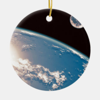 Earth and Moon Ceramic Ornament