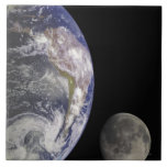 Earth and Moon Ceramic Tile
