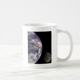 Earth and moon coffee mugs