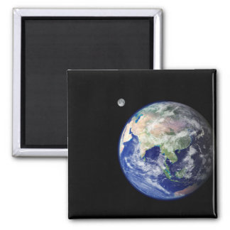 Earth and Moon from Space 2 Inch Square Magnet