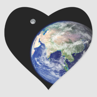 Earth and Moon from Space Heart Sticker