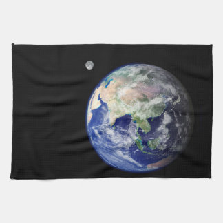 Earth and Moon from Space Kitchen Towel