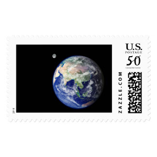 Earth and Moon from Space Postage