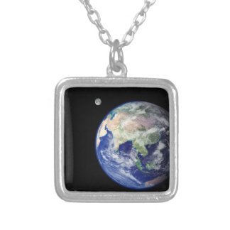 Earth and Moon from Space Square Pendant Necklace