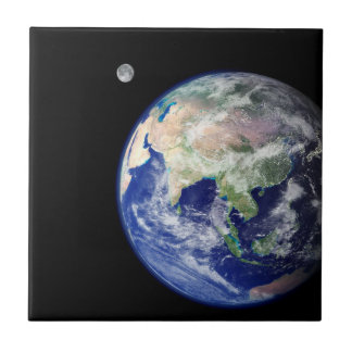 Earth and Moon from Space Tile