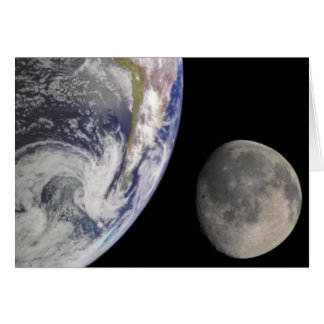 Earth and Moon in Space Greeting Card