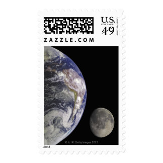 Earth and Moon Postage Stamps